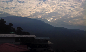 Fig: Early morning sun rise in Dharamsla