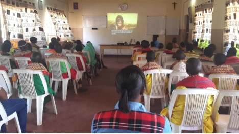 AMREF training of young girls on the effects of Female Genital Cutting