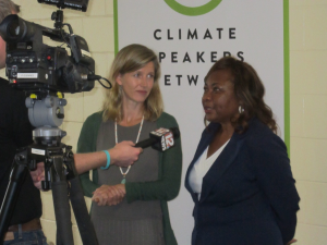Karenna Gore and Catherine Flowers being interviewed by local news