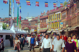 Boudhanath area in Kathmandu where a lot of Tibetans currently live. The influx of large number of refugees from Tibet has seen the construction of over 50 Tibetan Gompas (Monasteries) around the Boudha stupa (Tibetan: བྱ་རུང་ཁ་ཤོར།)