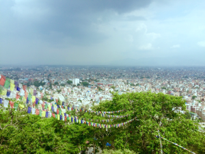 The view of Kathmandu from Swayambhunath. It is one of the most sacred Buddhist pilgrimage sites. For Tibetan refugees living here, it is second only to Boudhanath.