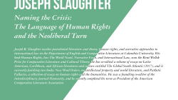 Interview with Rights and the Humanities Lecturer Dr. Joseph Slaughter