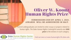 Accepting Submissions for Koonz Human Rights Prize